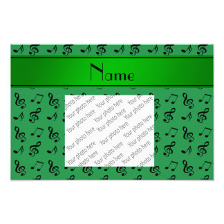 Personalized name green music notes photograph