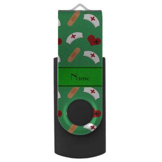 Personalized name green nurse pattern swivel USB 2.0 flash drive