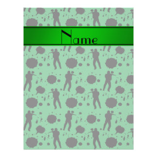 Personalized name green paintball pattern 21.5 cm x 28 cm flyer