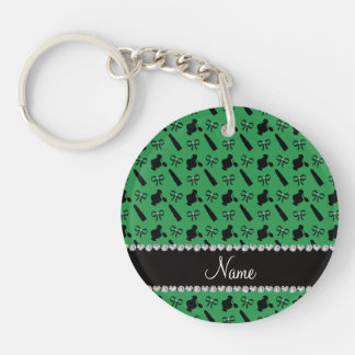 Personalized name green perfume lipstick bows Double-Sided round acrylic key ring
