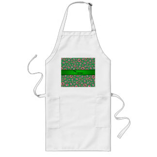 Personalized name green poker chips aprons