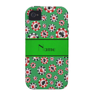 Personalized name green poker chips iPhone 4 cases