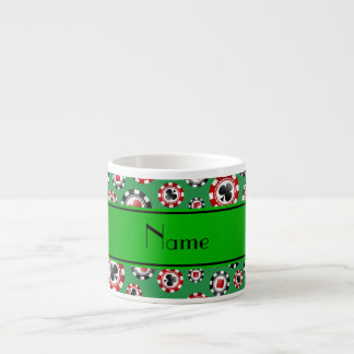 Personalized name green poker chips espresso mug