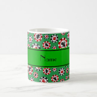 Personalized name green poker chips coffee mugs