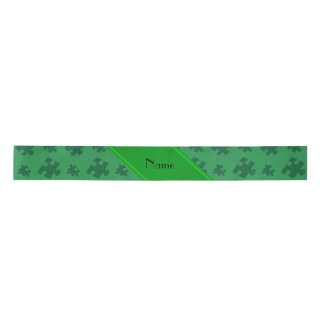 Personalized name green puzzle satin ribbon