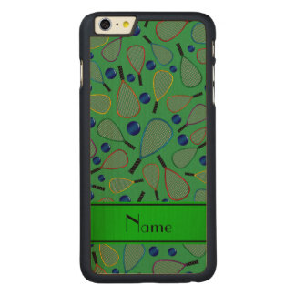 Personalized name green racquetball pattern carved® maple iPhone 6 plus case