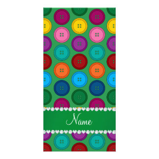 Personalized name green rainbow buttons pattern personalized photo card