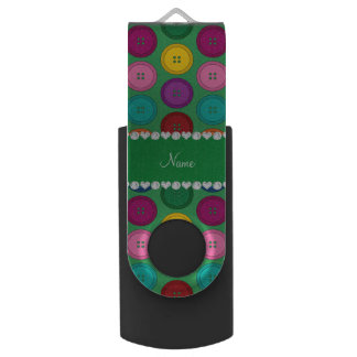 Personalized name green rainbow buttons pattern USB flash drive