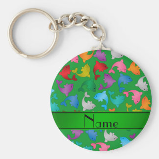 Personalized name green rainbow dolphins basic round button key ring