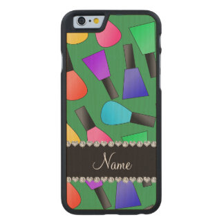 Personalized name green rainbow nail polish carved® maple iPhone 6 case