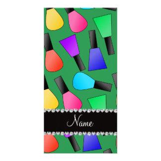 Personalized name green rainbow nail polish photo card