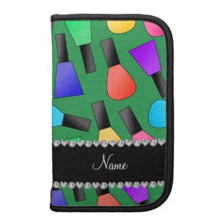 Personalized name green rainbow nail polish organizer