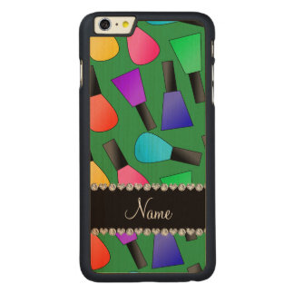 Personalized name green rainbow nail polish carved® maple iPhone 6 plus slim case