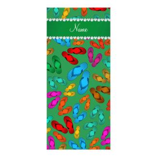 Personalized name green rainbow sandals custom rack card