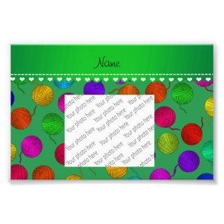 Personalized name green rainbow yarn balls photo print