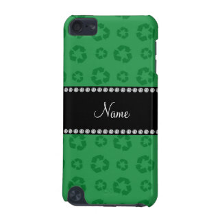 Personalized name green recycling pattern iPod touch (5th generation) case