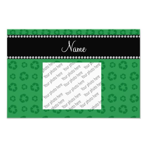 Personalized name green recycling pattern photographic print