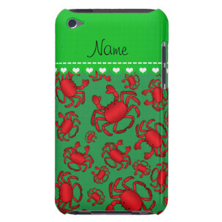 Personalized name green red crab pattern iPod Case-Mate case