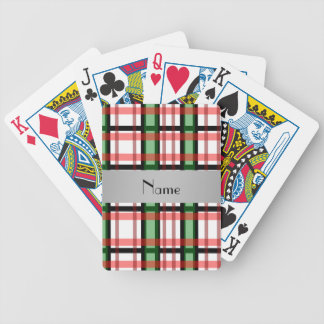 Personalized name green red plaid bicycle playing cards