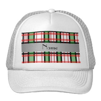 Personalized name green red plaid mesh hats