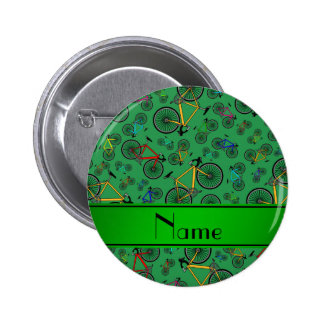 Personalized name green road bikes 6 cm round badge