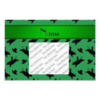 Personalized name green rodeo bull riding pattern photographic print
