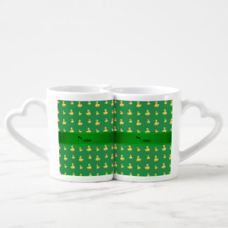 Personalized name green rubber duck pattern lovers mug