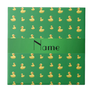 Personalized name green rubber duck pattern small square tile