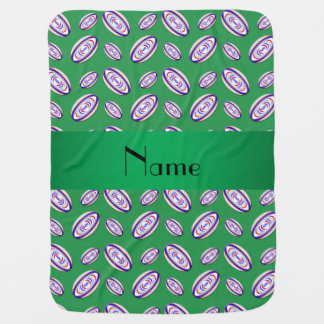 Personalized name green rugby balls baby blanket