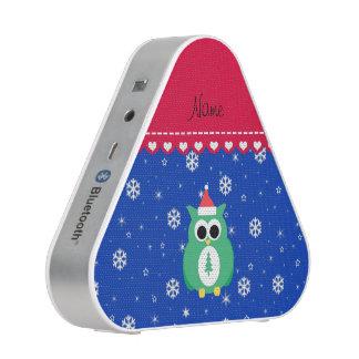 Personalized name green santa owl blue snowflakes speaker