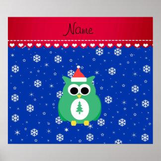 Personalized name green santa owl blue snowflakes posters