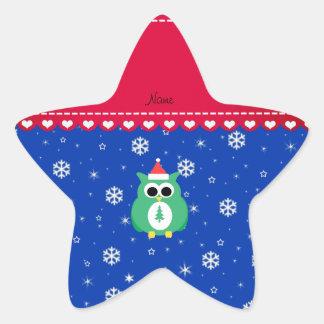 Personalized name green santa owl blue snowflakes star stickers