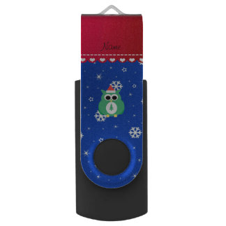 Personalized name green santa owl blue snowflakes swivel USB 2.0 flash drive