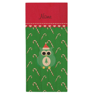 Personalized name green santa owl green candy cane wood USB 2.0 flash drive
