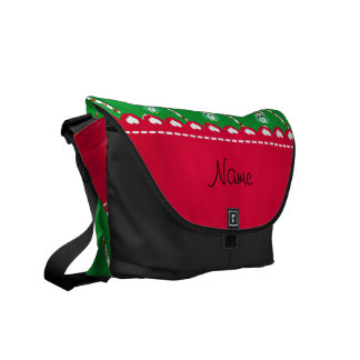 Personalized name green santa owl green candy cane courier bags