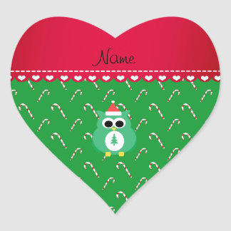 Personalized name green santa owl green candy cane heart sticker