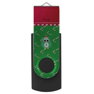 Personalized name green santa owl green candy cane swivel USB 2.0 flash drive