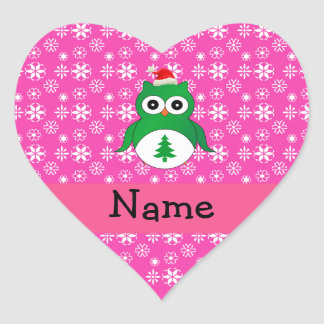 Personalized name green santa owl pink snowflakes heart stickers