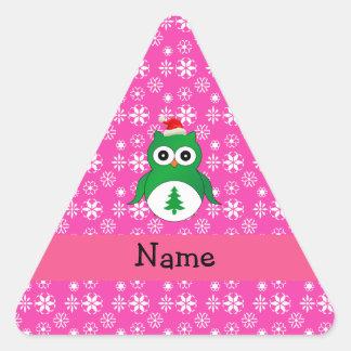 Personalized name green santa owl pink snowflakes sticker
