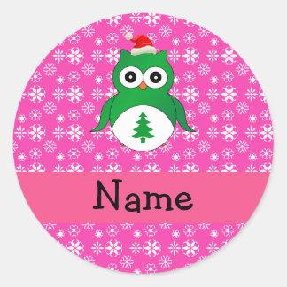 Personalized name green santa owl pink snowflakes stickers