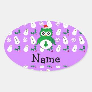 Personalized name green santa owl purple snowmen sticker