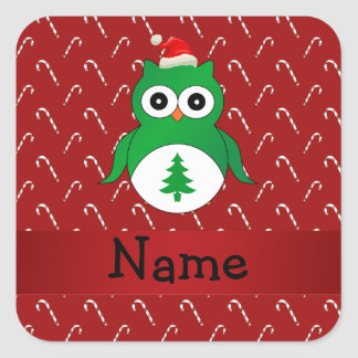 Personalized name green santa owl red candy canes square stickers