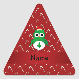 Personalized name green santa owl red candy canes stickers