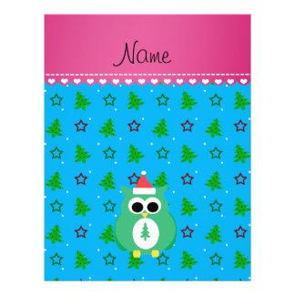 Personalized name green santa owl sky blue trees custom flyer