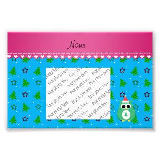 Personalized name green santa owl sky blue trees photo print