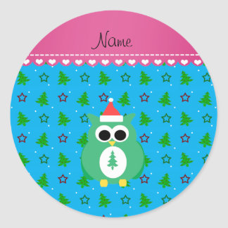 Personalized name green santa owl sky blue trees round stickers