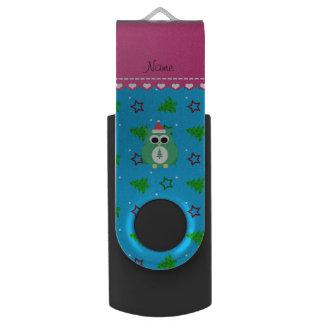 Personalized name green santa owl sky blue trees swivel USB 2.0 flash drive