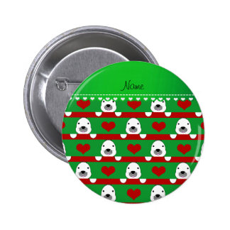 Personalized name green seals red hearts stripes 6 cm round badge