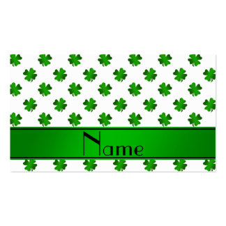 Personalized name green shamrocks green stripe business card template