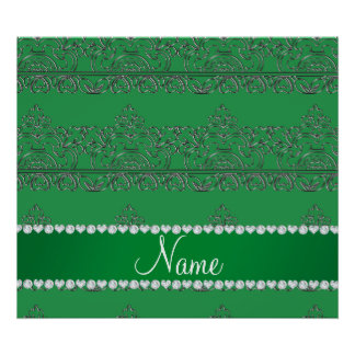 Personalized name green silver lace poster